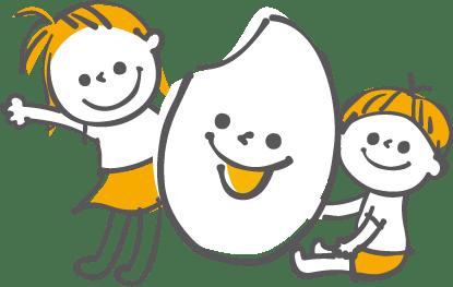 お米と子供のイラスト