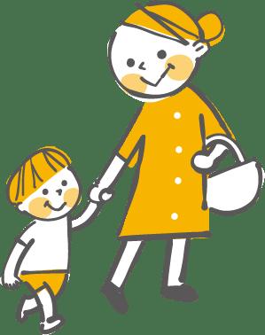 子供の手を引くお母さん